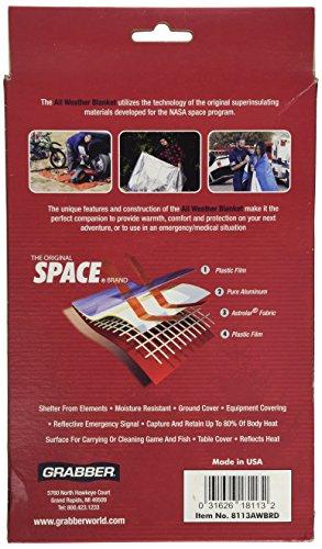 Grabber Outdoors Original Space Brand All Weather Blanket: Orange, 5 ft x 7 ft, ...