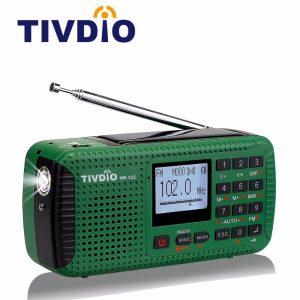 TIVDIO HR-11S Portable Radio Hand Crank Solar Emergency Radio Receiver FM MW SW With Bluetooth MP3 Player Digital Recorder F98