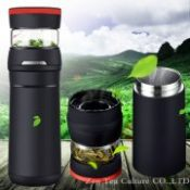 16 Portable Car Vacuum Flask Thermos 304 Stainless Steel Vacuum Cup with Glass Tea Cup Thermal Insulation Bottle Creative Gift