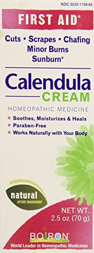 Boiron Calendula First Aid Cream, 2.5 Ounces. Topical Cream for Cuts, Scrapes, Chafing, Minor Burns and Sunburn. Soothes, Moisturizes and Heals, Paraben Free and Natural Active Ingredient