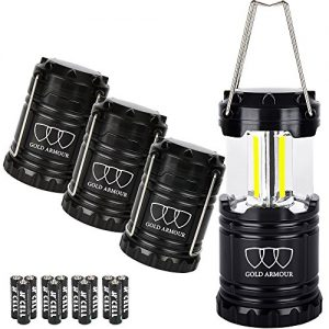 Brightest Camping Lantern – LED Lantern (EMITS 350 LUMENS!) – Camping Equipment Gear Lights for Hiking, Emergencies, Hurricanes, Outages, Storms (Black, 4 Pack)