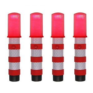 WISLIGHT LED Emergency Roadside Flashing Flares Safety Strobe Light – Road Warning Beacon , Magnetic Base, Detachable Stand, Storage Case (2 Cases = 4 PCS, Battery Not Included)