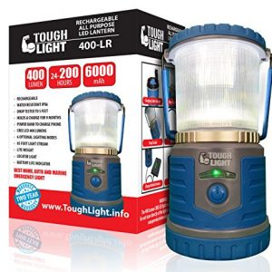 Tough Light LED Rechargeable Lantern – 200 Hours of Light From a Single Charge, Longest Lasting on Amazon! Camping and Emergency Light with Phone Charger – 2 Year Warranty (Blue)