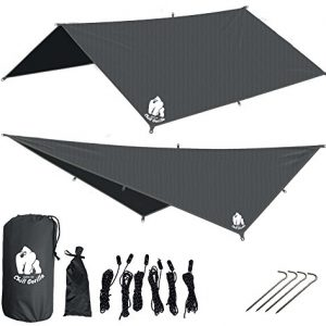 CHILL GORILLA 10′ HAMMOCK RAIN FLY TENT TARP Waterproof Camping Shelter. RIPSTOP NYLON & Not Cheap Polyester. Essential Survival Gear. Stakes Included. Lightweight. Quality. Easy to setup. GREY