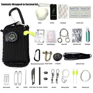 Electronictechcrafts Wilderness survival kit-Multifunction Outdoor Survival Gear Kit-Outdoor Ultimate Survival Kits Emergency Kits,First Aid, Fire Starter, Emergency Whistle, and More!(30 Piece )