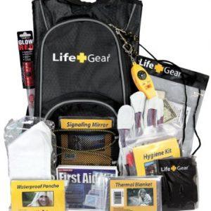 Life Gear Emergency Survival Kit Backpack w/Emergency Gear & First Aid Kit