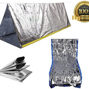Sportsman Emergency Tent and Sleeping Bag Kit. This Mylar Reflective Thermal Shelter Is Best for Backpacking - Camping - Hiking - Survival Gear or Rescue Blanket.