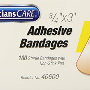 Acme United 3/4 Inch X 3 Inch Plastic Bandages, 100-Count, 0.2-Pound (Pack of 3)